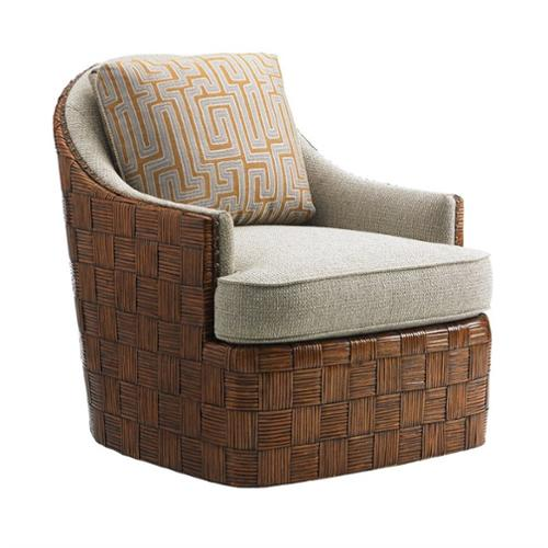 Tommy Bahama Island Fusion Nagano Fabric Swivel Chair in White