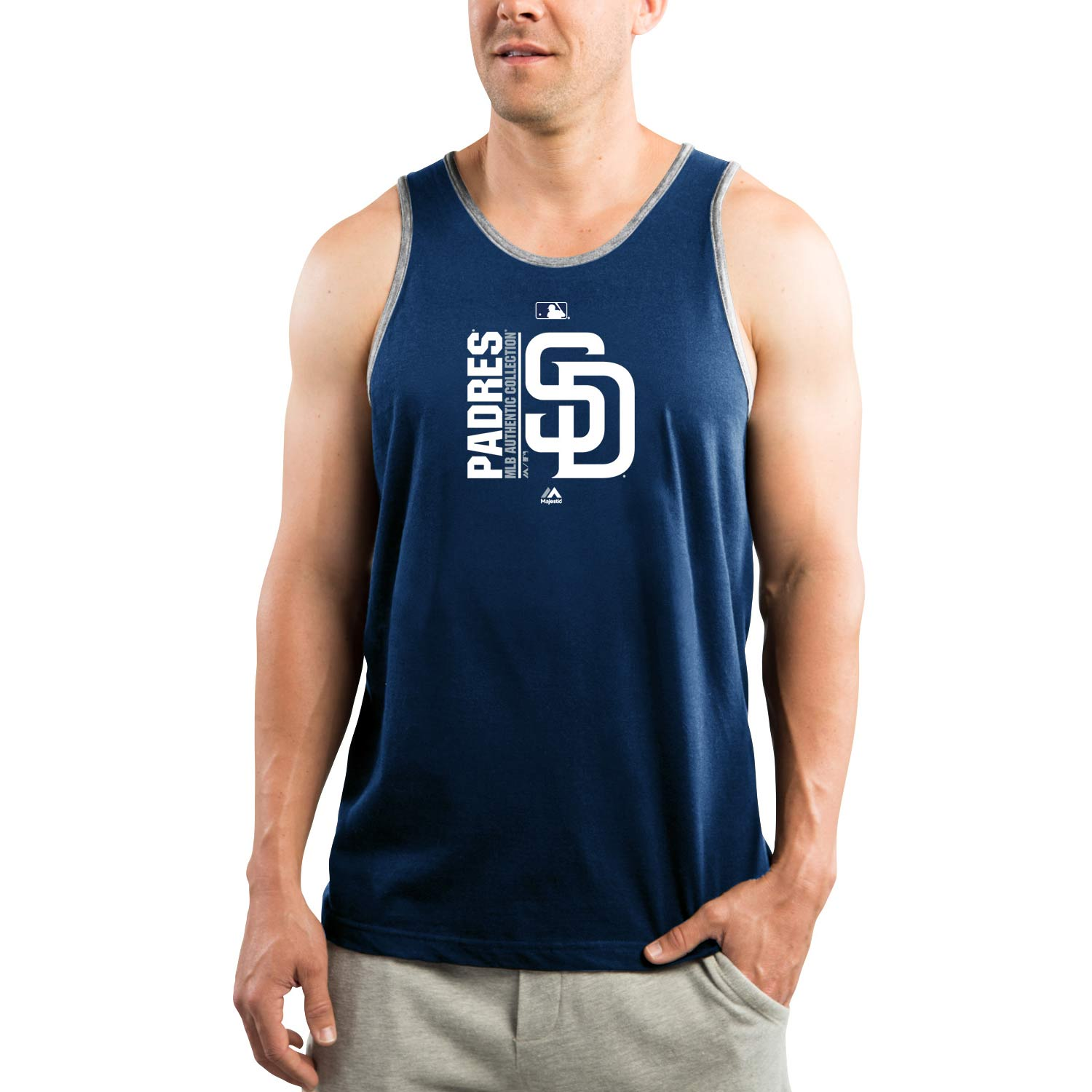 San Diego Padres Majestic Authentic Collection Team Icon Tank Top - Navy/Gray