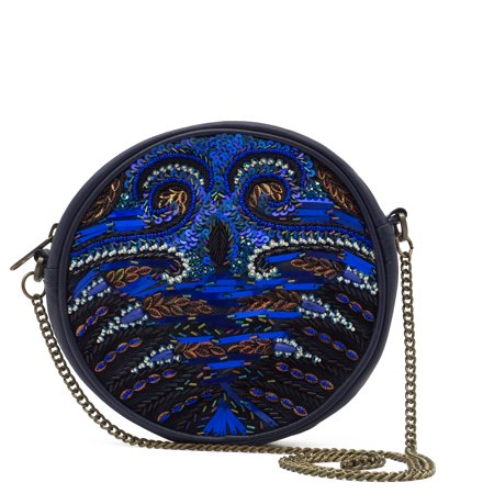 WCM Blue Genuine Leather Hand Beaded Peacock Design Round Shoulder Bag Purse - Beaded Purse Designs