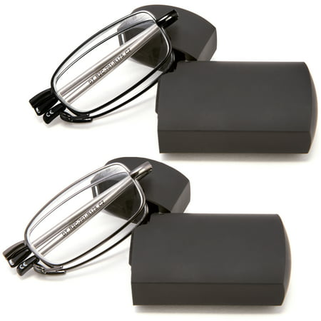 DOUBLETAKE 2 Pairs of Metal Compact Folding Reading Glasses with Mini Flip Top Carrying Case for Men and Women - 1.00x Magnification