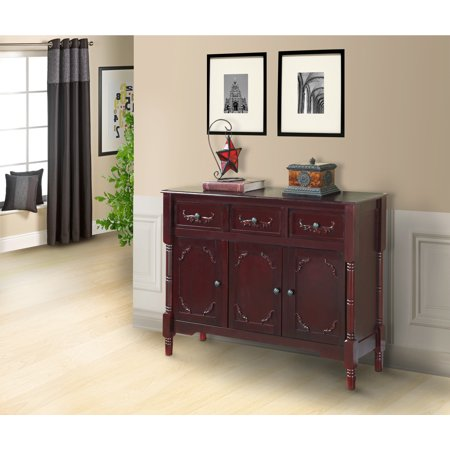 Dark cherry wood sideboard buffet display console table for Sofa table with drawers and doors