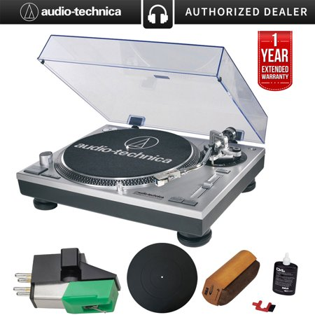Audio-Technica AT-LP120-USB Direct-Drive Professional Turntable in (Silver) Ultimate Bundle With Extra Dual Magnet Cartridge , Protective Platter Mat , RCA Cleaning System & 1 Year Warranty (Best Cartridge For Audio Technica At Lp120)