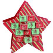 Festive Green and Red Striped Star Wooden Double Sided Christmas Advent Calendar