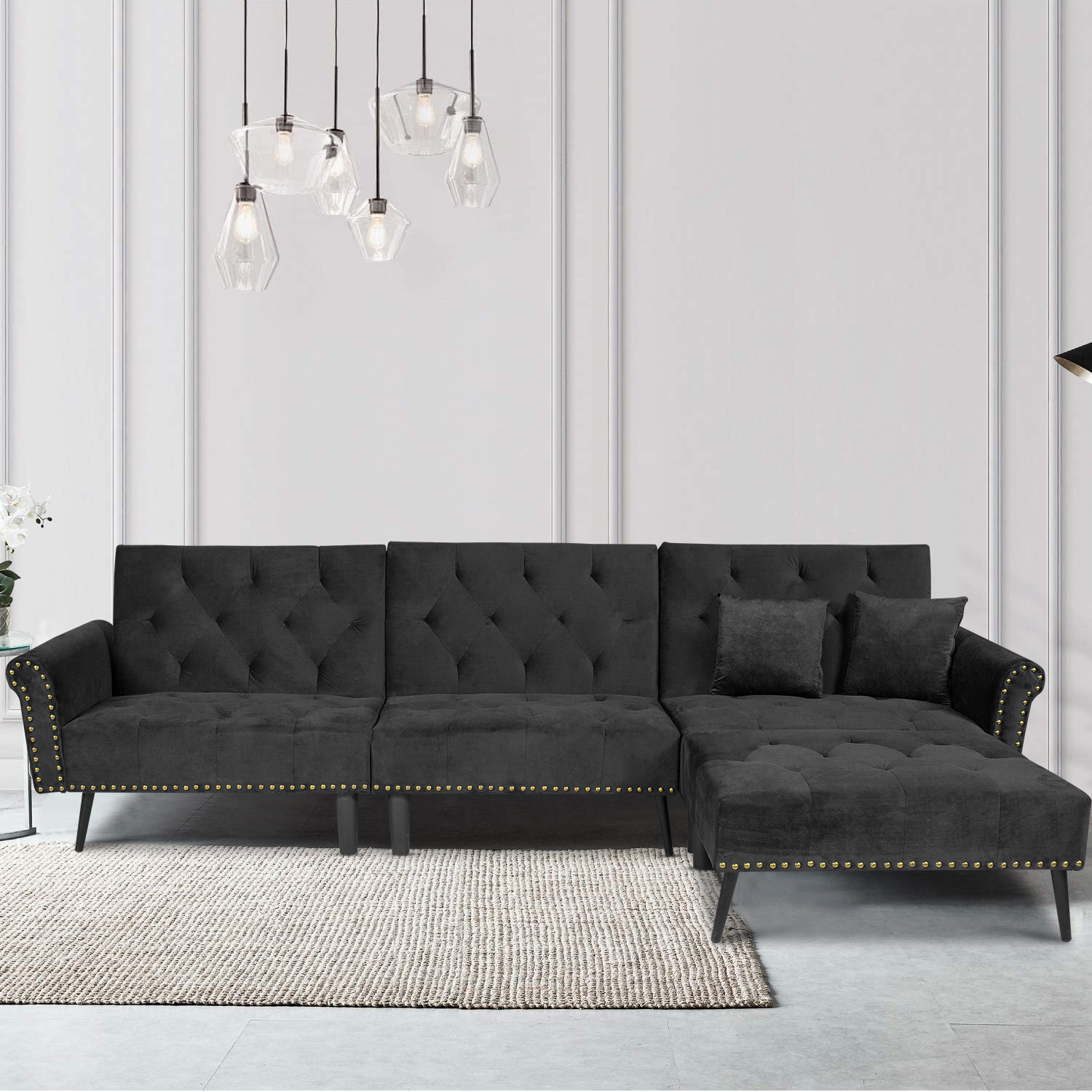 Segmart 2 Piece Contemporary Sectional Sofa Set Queen Sleeper Sofa With Pillows Tufted Sofa Bed With Chaise Modern Sofa Bed Couches And Sofas Sleeper With Oak Legs For Living Room Office B1013