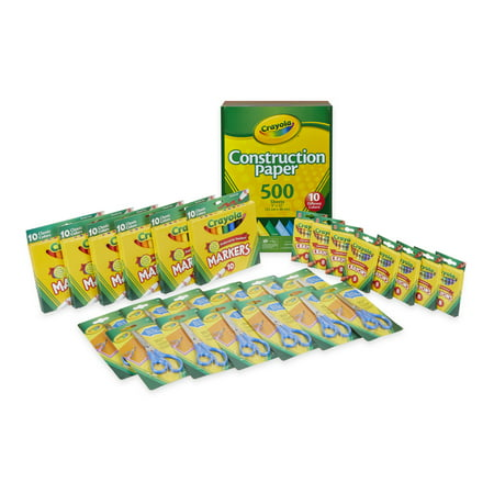 Crayola Classroom Value Pack - Crayons, Markers, Construction Paper, Child Safety Scissors