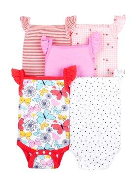 Little Star Organic Baby Girl 100% Organic Cotton Sleeveless Bodysuits, 5-pack