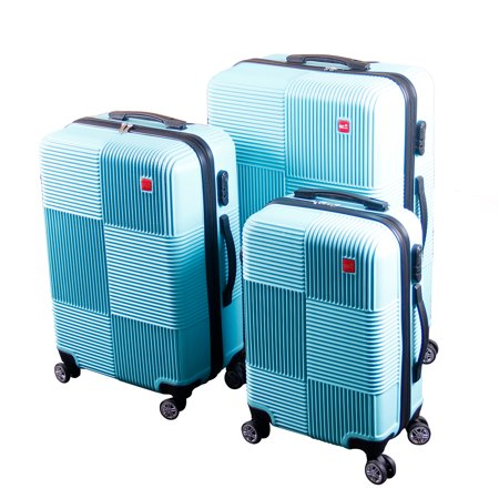 BIGLAND 3 Pcs ABS Luggage Set Hard Suitcase Spinner Set Travel Bag Trolley Wheels Coded Lock Teal Blue (Teal Hard Suitcase)