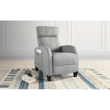 Cozy Small Space Linen Fabric Chair Plush Push Back Recliner Pocket for Control (Light Grey)