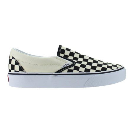 Mens Vans Classic Slip-On Checkerboard Black White - Slip On Vans Clearance