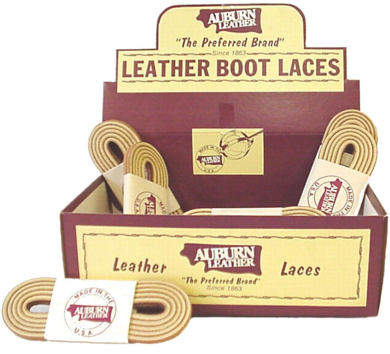 Auburn Leather 250 Sleeved Boot Lace, 72 in L, Leather, Indian Tan