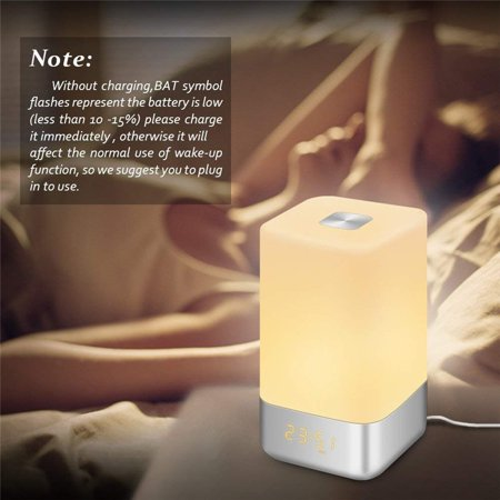 Wake Up Light Alarm Clock,5 Natural Sounds Sunrise Simulation LED Bedside Lamp Clocks,Touch Sensor Night Light, 7-Colors Changing Dimmable