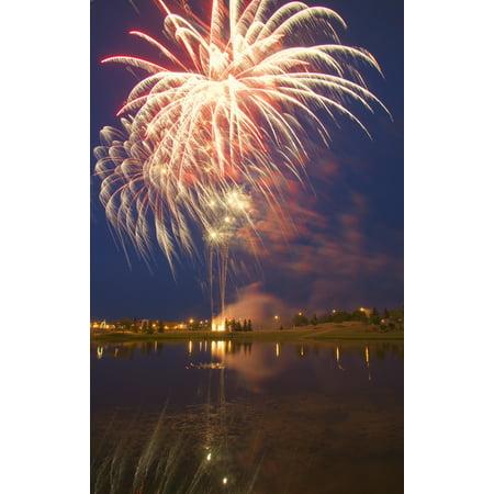 Carson Ganci / Design Pics Stretched Canvas Art - Fireworks Display On Canada Day Sherwood Park Alberta Canada - Large 22 x 34 inch Wall Art Decor Size.
