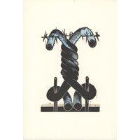 "GEORGE NAMA Land I 9.5"" x 6.5"" Linocut 1973 Black, Blue"