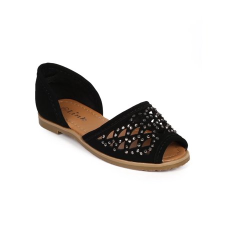 Link DF04 Nubuck Studded Hollow Out Peep Toe D'orsay Flat (Toddler / Little Girl / Big Girl)