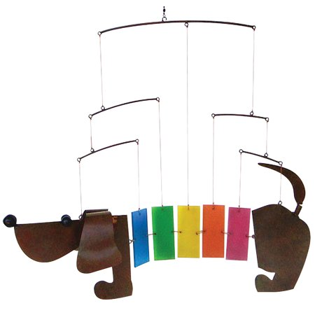 Handmade Glass And Metal Rainbow Dachshund Weiner Dog Decorative Wind (Decorative Wind Chimes)