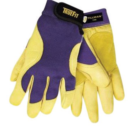 (Tillman Medium Blue And Gold TrueFit Premium Full Finger Top Grain Deerskin And Spandex Mechanics Gloves With Elastic Cuff, Double Leather Palm, Reinforced Thumb, And Smooth Surface Fingers)