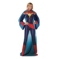 "Mighty Captain Marvel Adult Comfy Throw Blanket with Sleeves, 48"" x 71"""