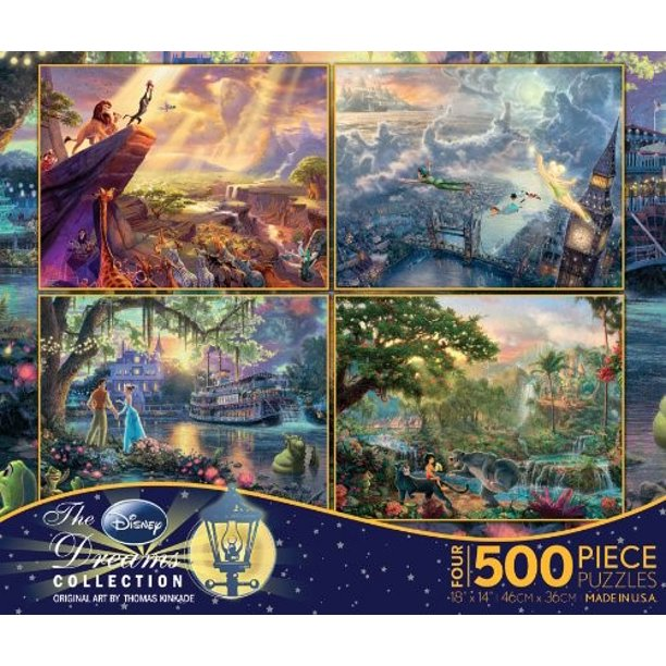 Ceaco 4-in-1 Multi-Pack Thomas Kinkade Disney Dreams Collection Jigsaw Puzzle ( 500 Pieces )