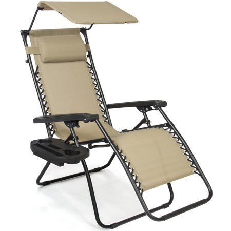 Best Choice Products Folding Steel Mesh Zero Gravity Recliner Lounge Chair w/ Adjustable Canopy Shade and Cup Holder Accessory Tray, Beige