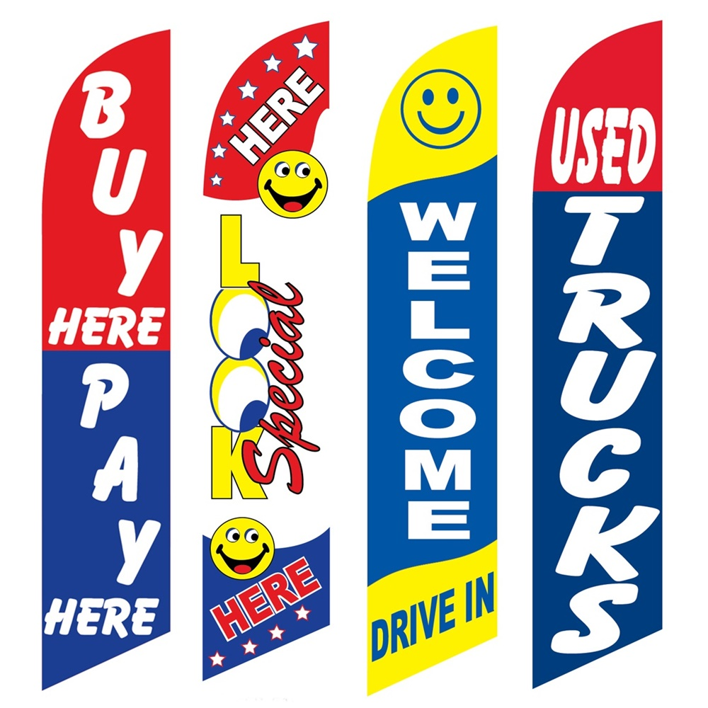 4 Advertising Swooper Flags Buy Pay Here Look Special Here Welcome Drive In Used Trucks