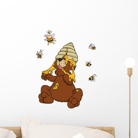 Bee Decals (Bear Honey Bees Bees Wall Decal by Wallmonkeys Peel and Stick Graphic (18 in H x 15 in W) WM165354)