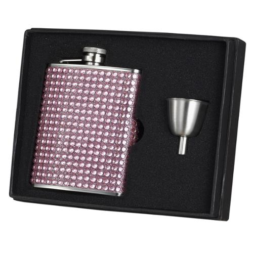 Visol Kylie Pink Bling Stainless Steel Hip Flask Gift Set - 6 oz