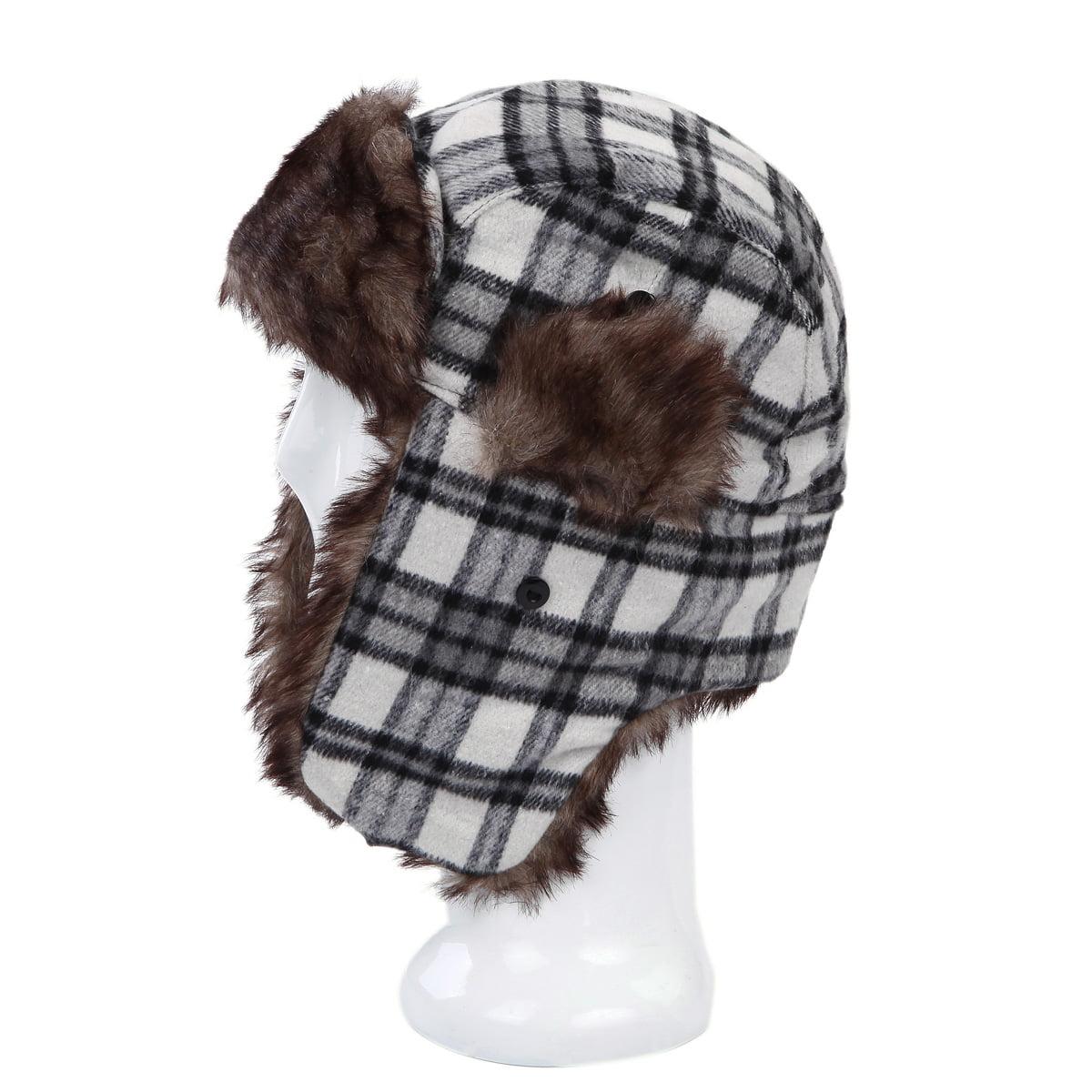 e26d969e9 Warm Winter Plaid Faux Fur Trapper Ski Snowboard Hunter Hat