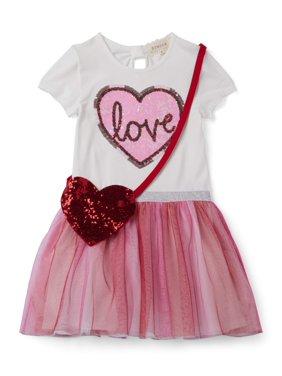 """Btween Girls' Valentine's Day """"Love"""" Tutu Dress with Heart Purse, 2-Piece"""