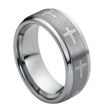TK Rings 149TR-9mmx9.5 9 mm Flat Laser Engraved Crosses on Brushed Center Tungsten Ring - Size - Flat Laser