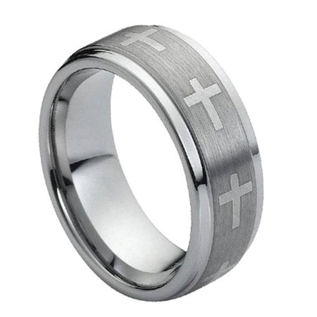 TK Rings 149TR-9mmx9.5 9 mm Flat Laser Engraved Crosses on Brushed Center Tungsten Ring - Size 9.5 - image 1 de 1