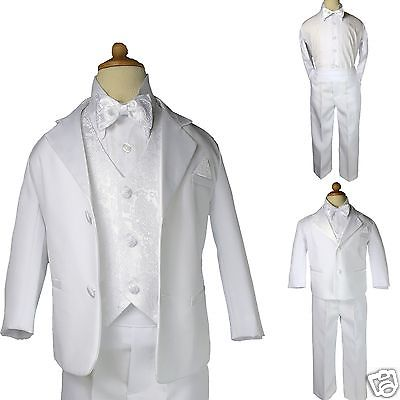 Baby Boy Christening Baptism white Suit//Wedding//Tie 5 pieces Outfit//Sizes:XS-4T