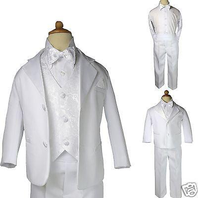 New White Baby 5pc Set Formal Christening Wedding Party Boy Suit Tuxedo sz
