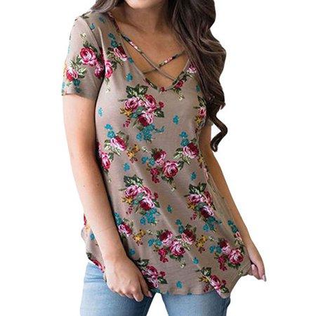 Nlife Women's Short Sleeve Criss Cross Round Neck Floral Printed Asymmetric Shirt Tops Blouse
