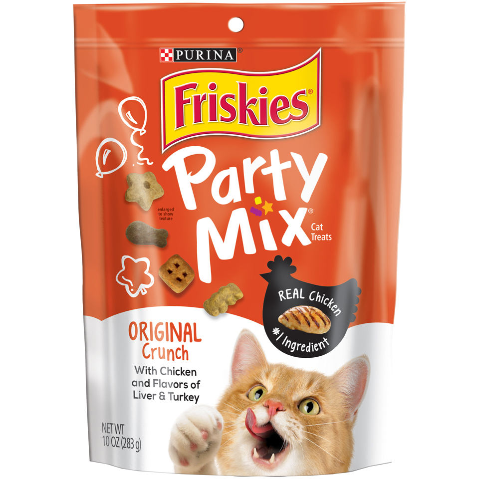 (2 Pack) Purina Friskies Party Mix Original Crunch Cat Treats - 10 oz. Pouch