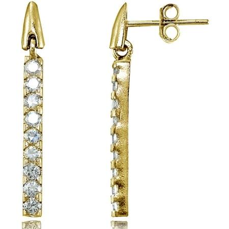 CZ Yellow Gold Flashed Sterling Silver Bar Dangle Drop Earrings Bar Drop Dangle Earrings