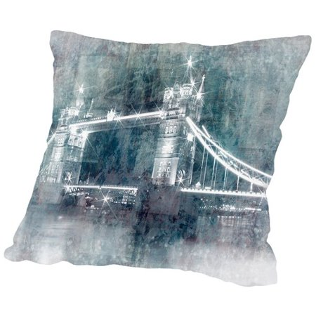 East Urban Home Digital Art Tower Bridge At Night Throw Pillow