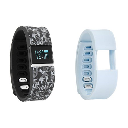 iFITNESS Activity Tracker Wrist Watch Silver Case, Black Print and Light Blue Silicone Rubber Straps
