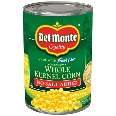 Del Monte Golden Sweet Whole Kernel Corn No Salt Added, 15.25 Ounce (24 Pack)
