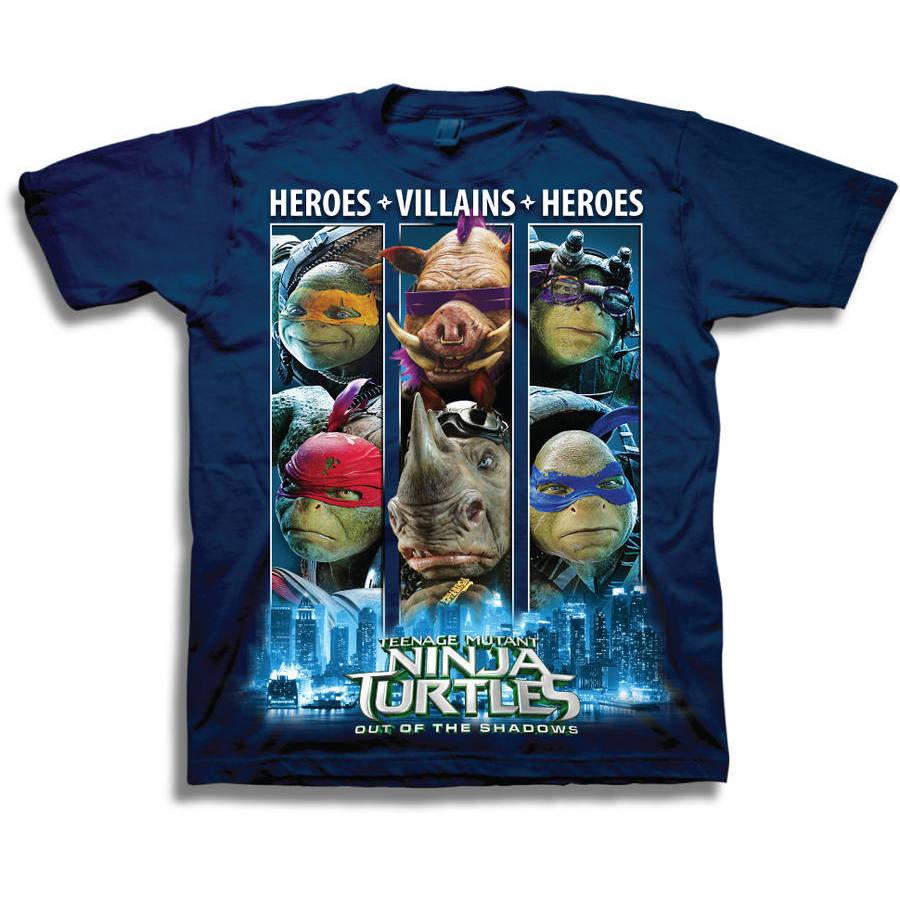 "Teenage Mutant Ninja Turtle TMNT Movie Out of the Shadows ""Heroes * Villians * Heroes"" Boys' Short Sleeve Graphic Tee T-Shirt"