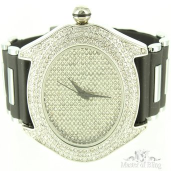 Fashionable Crisp White Gold Finish Silicone Rubber Band Techno Pave Mens Watch