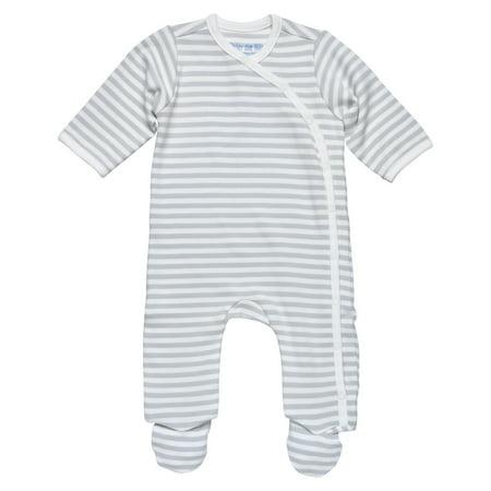 Organic Cotton Jumpsuit (Organic Cotton Unisex Baby Side-Snap Footie Size 0-3m Grey Stripe)