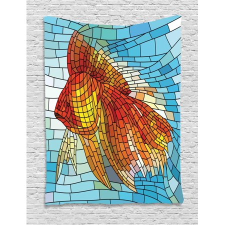 Fish Tapestry, Stained Glass Themed Nautical Elements with Geometric Shapes Rectangles Traditional, Wall Hanging for Bedroom Living Room Dorm Decor, Multicolor, by Ambesonne