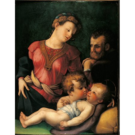 The Holy Family With Young St John The Baptist Canvas Art -...