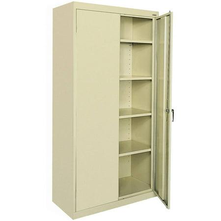 Classic Series 36u0022W x 78u0022H x 18u0022D Storage Cabinet with Adjustable Shelves, Putty