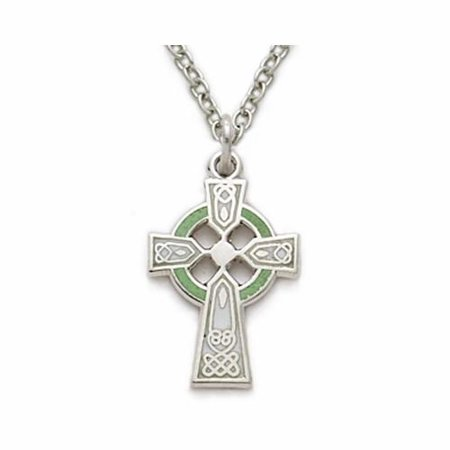 .925 Sterling Silver Celtic cross crucifix Pendant with Green Enamel Celtic Celtic Comes with a 18'' Chain Necklace in a deluxe velvet box