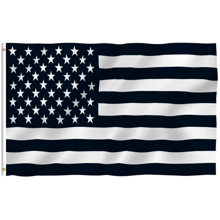 ANLEY [Fly Breeze] 3x5 Foot Black and White American Flag - Vivid Color and UV Fade Resistant - Canvas Header and Double Stitched - Recession USA Flags Polyester with Brass Grommets 3 X 5 Ft - Black And White Flag