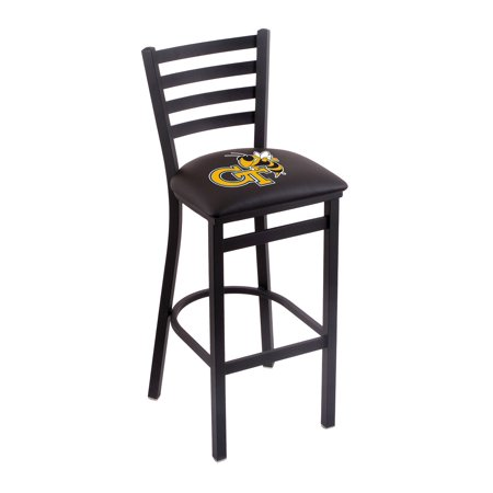 "L004 - 25"" Black Wrinkle Georgia Tech Stationary Counter Stool with Ladder Style Back by the Holland Bar Stool Co."