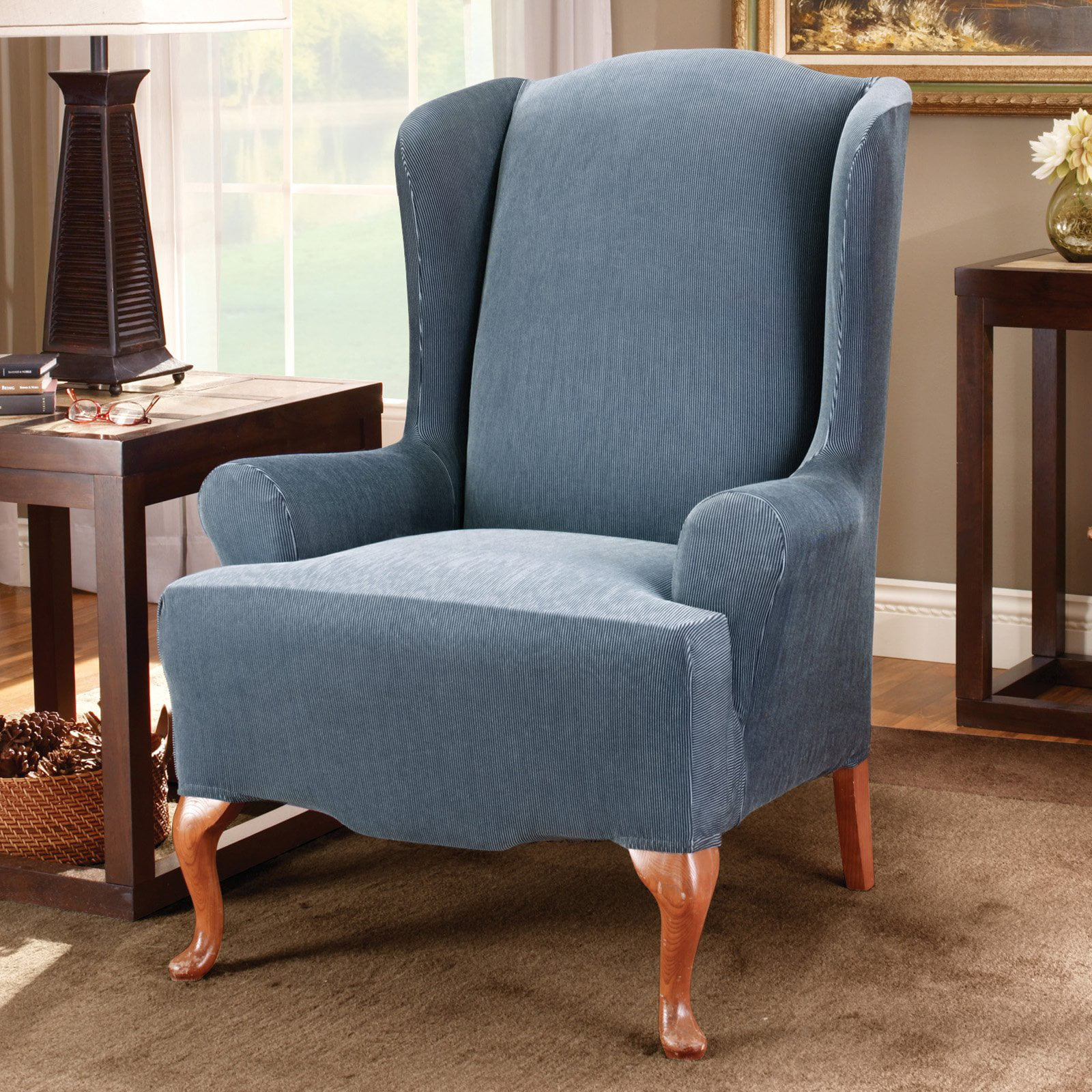 Outstanding Sure Fit Stretch Stripe Wing Chair Slipcover Machost Co Dining Chair Design Ideas Machostcouk