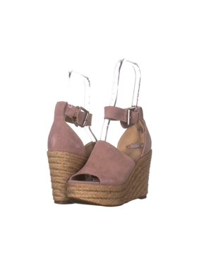 Marc Fisher Womens Cala Leather Peep Toe Ankle Strap Wedge Pumps