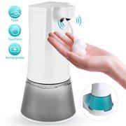350mL Automatic Foaming Soap Dispenser Hands-free Soap Dispenser Rechargeable Soap Dispenser with Infrared Sensor, 1200mAh Battery, USB Charging Port
